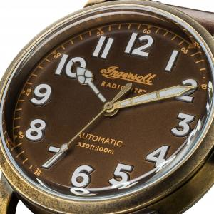 Ingersoll DISCOVERY I04801 Mens The Linden Movement Automatic Case Stainless Steel Dial Brown Strap Leather Brown Matt